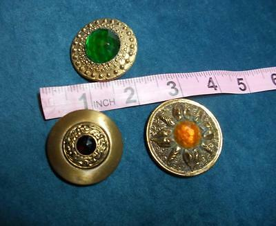 #76 Collectable Antique Victorian Jewel Buttons Bronze Tone Metal & Glass Large