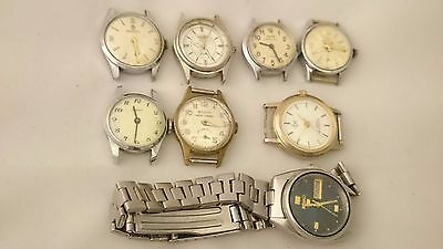 LOT 8 pcs VINTAGE Darwil Nacar Timex Zarya automatic quartz some works some dont