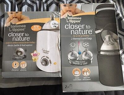 Tommee Tippee Electric Bottle & Food Warmer (Rep£22) &Insulated Bottle Bags BNIB