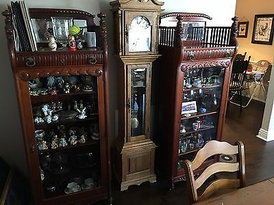 2 Victorian Curio Cabinets - Matching Pair