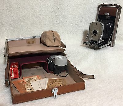 Vintage Polaroid 95B Land Camera with Case, Flash and Extras