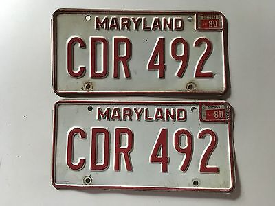 1980 Maryland License Plate PAIR Ford Chevy Camaro Dodge 1976 1977 1978 1979 YOM