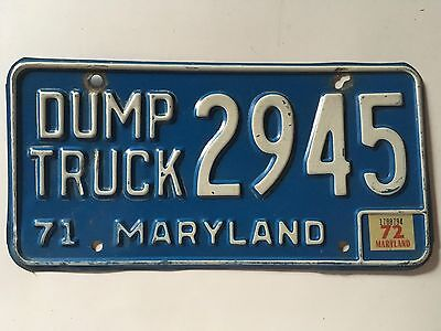 1971 1972 Maryland Dump Truck License Plate Rare Type Single Plate Issue Natural