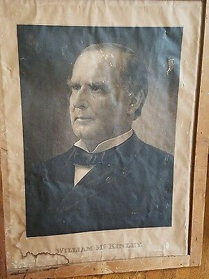 President William McKinley 1896 Campaign Poster - double sided. Eng by Marshall