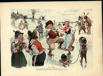 Ice Skating Pipe Smoking Indian Stereotype c.1899 antique color lithograph print