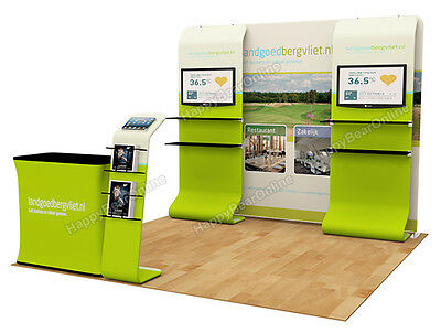Trade show A8 Display booth package 10ft (TV stand, Display shelves, Header)
