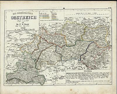Archduchy of Austria Europe Vienna Eisenstadt Scharding c. 1835 scarce old map
