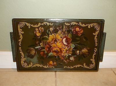 Vintage Wood Floral Motif Stenciled Tole Tray