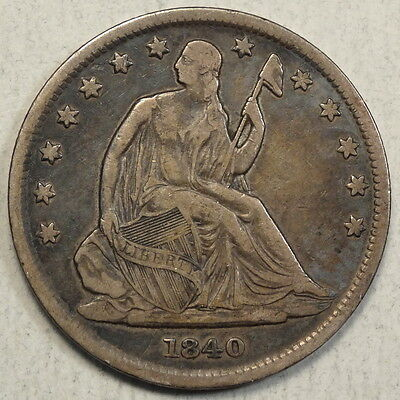 1840 Seated Liberty Half Dollar, Reverse of 1839, Small Letters, Original VF