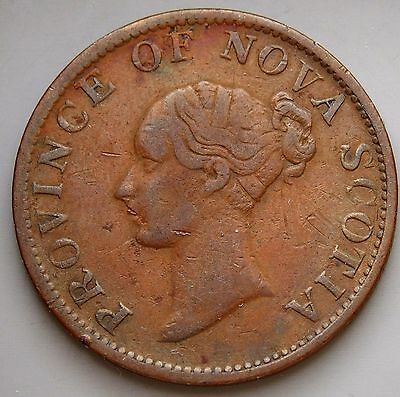 1843 NS-1F1   Nova Scotia Canada Colonial Canadian 1/2  Penny Thistle Token