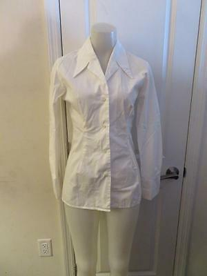 191427d60ea0d Womens Katharine Hamnett Denim White Long Sleeve Button Down Shirt Size Xs