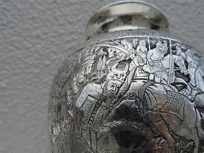 One Of A Kind Persian Islamic Qajar Solid Silver Shah-Nameh Battle Figural Vase
