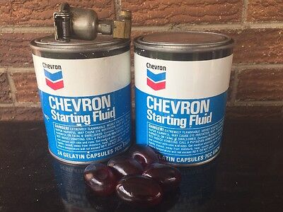 Lot of 3 Vintage Chevron Starting Fluid Cans Capsules With Injector Oil Grease