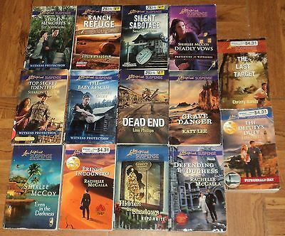 "LOVE INSPIRED ""SUSPENSE"" CHRISTIAN ROMANCE PAPERBACK COLLECTION - Lot of 14"