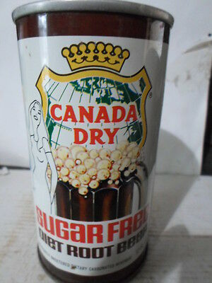 Canada Dry Sugar Free Root Beer Straight Sided Steel Soda Can / Pop Can