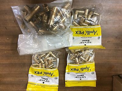 "Lot Of Pex Fittings elbows and tees 1/2"", 3/4"""