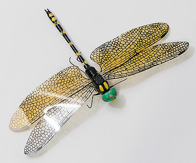 """Dragonfly Magnet, Wood with Plastic Wings, 3.5""""x5.5"""", Yellow & Black"""