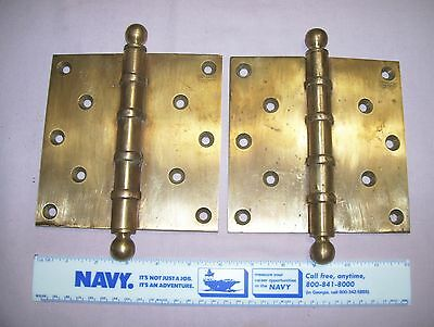 2 Old  Large Antique Solid Brass Door Hinges Patented 1923 Very Heavy Industrial