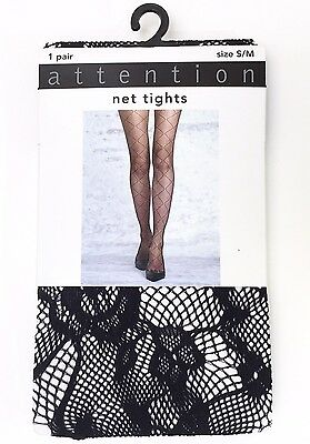 Attention Net Tights New Black Lace Pattern 1 Pair Legs Hose Women's Size S/M