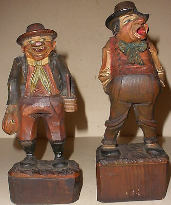 """2 Antique early Anri carved old man hobo wood 8"""" figures"""