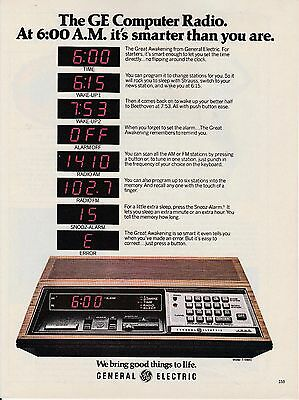Vintage 1980 General Electric Computer Radio print ad     Great to frame!