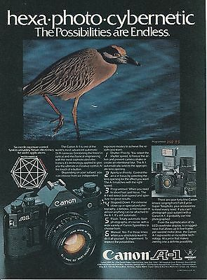 Vintage 1980 Canon A-1 camera print ad     Great to frame!