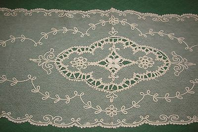 Antique Tambour Lace Runner, Dresser Scarf - Net Lace - S3