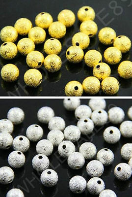 3/4/5/6/8/10 mm Gold/Silver Ball Stardust Copper Spacer Beads Diy 100/1000 pcs