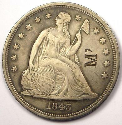 1843 Seated Liberty Silver Dollar $1 - XF Details - Rare Date - Scarce Coin!