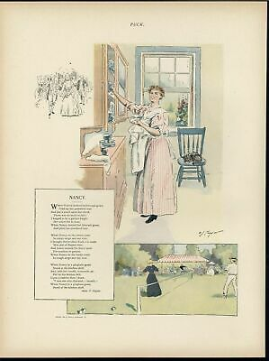 Nancy Cleaning Dishes Playing Tennis Chores 1894 antique color lithograph print