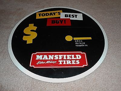 Old Mansfield Tires Round Tire Insert Metal Sign & Label Chaulkboard Advertising