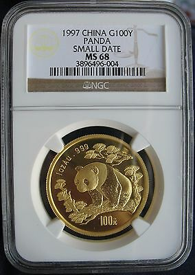 1997 China Panda Gold 100 Yuan NGC MS-68 Small Date