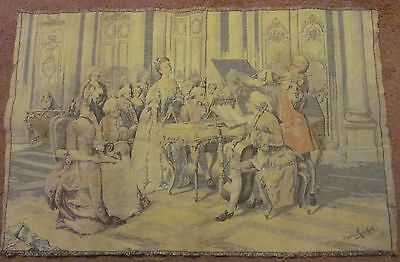 Signed Marchetti---Vintage French Tapestry of Musicians, 41 x 27