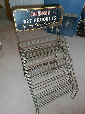 1940s DUPONT No. 7 CAR CARE PRODUCTS GAS & OIL COUNTER ADVERTISING RACK SIGN