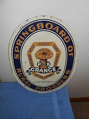 OLD METAL FARM FRATERNITY P of H GRANGE RURAL AGRICULTURE ADVERTISING SIGN