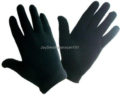 Ladies Womens Magic Stretch Winter Gloves w/ Palm Grip Dots Gripper Black