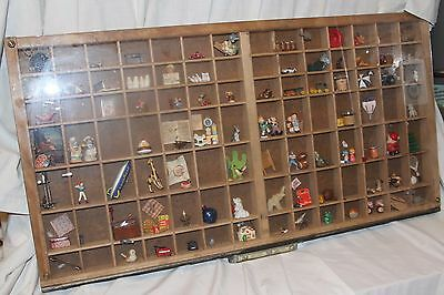 Vintage Printer Tray Shadow Box full of Miniatures w/ pull drawer handle