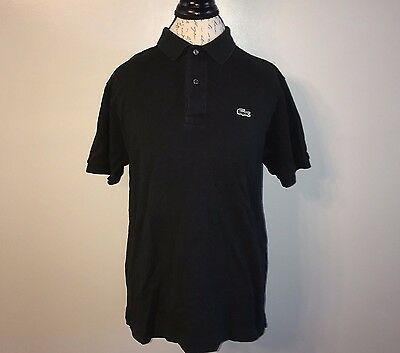 Lacoste Short Sleeve Mens Black Casual Polo Shirt Top Size 5 Med