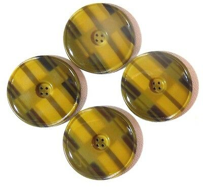 Antique Art Deco TIGHT TOP Celluloid  Buttons Set/4 Large 1 7/8""