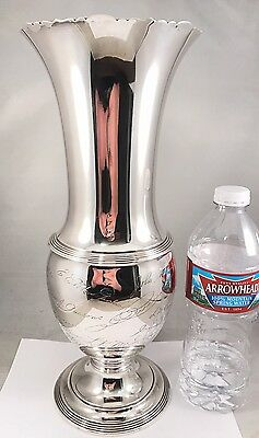 ANT HUGE MULTI AUTOGRAPH GORHAM 925 STERLING SILVER TALL FLOWER VASE 930g!