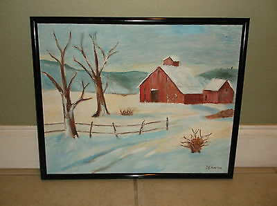 """Snowy Winter Country Landscape Oil On Canvas Signed """"jean '94"""""""