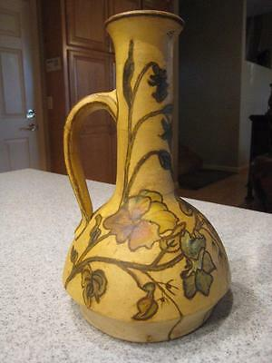 Old Vintage Antique Arts & Crafts Art Pottery Hand Painted Tall Vase