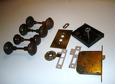 Old, Vintage 4 sets of Door Knobs, 2 Entry Locks (Yale &Towne, RE) and Accessori