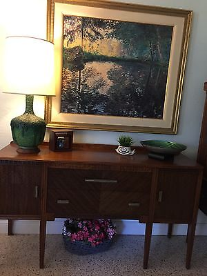 Tiger Oak 3 Piece Dining Set Table, Credenza, & China Cabinet