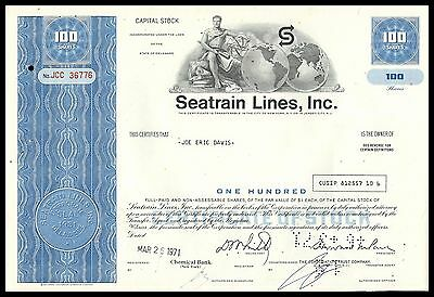 Seatrain Lines Inc 1970s BLUE 100 Share Common Stock Certificate VF+