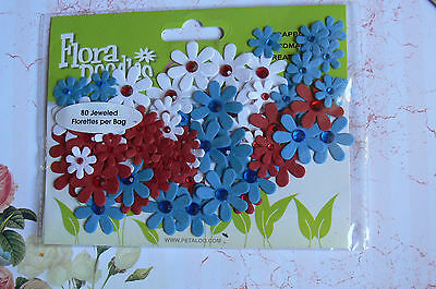 80 Jewelled Florettes RED WHITE BLUE - FLORA DOODLES 15-25mm Petaloo