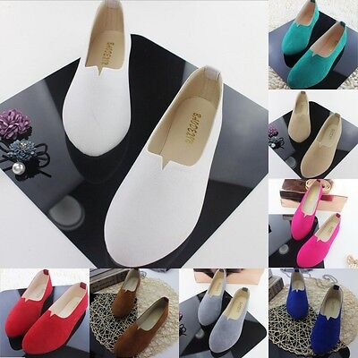 New Womens Suede Boat Sandals Casual Ballet Flats Slip On Loafers Single Shoes