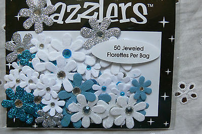 50 Jewelled Florettes DAZZLERS - BLUE WHITE SILVER Plain&Sparkle 15-25mm Petaloo
