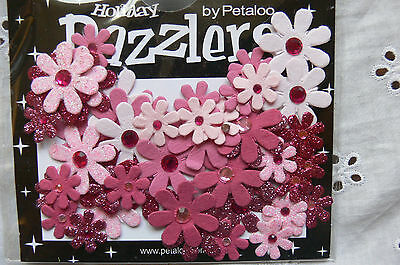 50 Jewelled Florettes DAZZLERS - 5 Tones of PINK Plain & Sparkle 15-25mm Petaloo