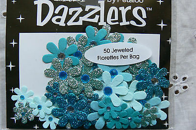 50 Jewelled Florettes DAZZLERS - 5 Tones of TEAL Plain & Sparkle 15-25mm Petaloo